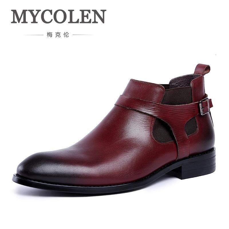 MYCOLEN Brand 2018 Men Boots Vintage Style Black Wine Red Leather Chelsea Boots Winter Handmade Tooling Boots Mens Shoes [krusdan]british style men autumn winter boots solid casual genuine leather retro boots falts brand red wine male ankle boot