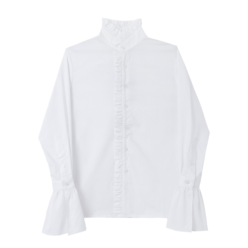 Image 3 - Men Gothic Shirt Cotton Ruffle Stand Collar Flare Long Sleeve Vintage Fashion Tops Retro Black White Shirts New 904 918-in Casual Shirts from Men's Clothing