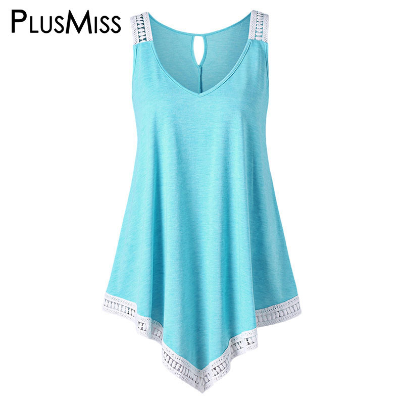 PlusMiss Plus Size 5XL Sexy Lace Crochet Loose Boho   Tank     Top   Women Clothes Summer 2018 Sleeveless Vest Ladies Big Size Female