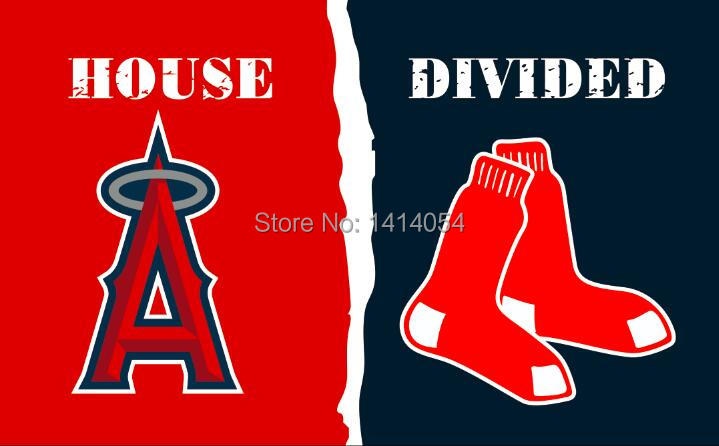 Los Angeles Angels of Anaheim vs Boston Red Sox House Divided FLags 3X5FT Banner 100D Polyester grommets custom .free shipping