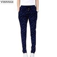 VISNXGI 2018 New Autumn Pants European Style Casual Loose Stretch Women Printing Trousers Female Slack High