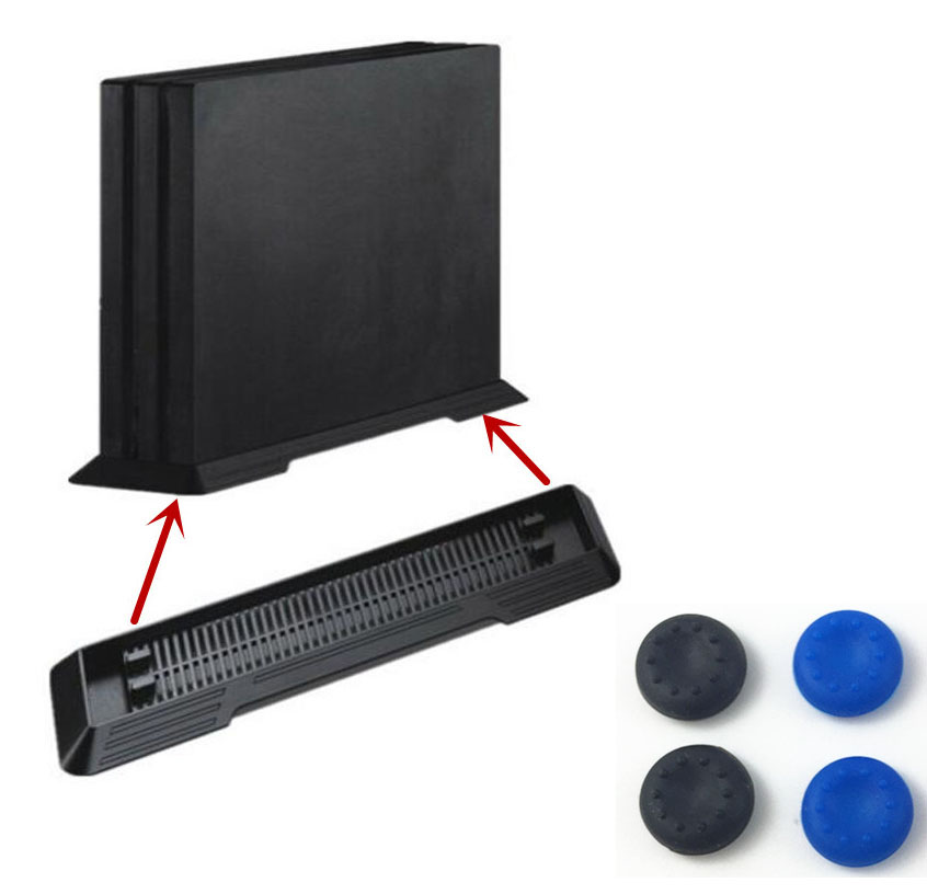 Vertical Stand Mount Dock Holder Base Cradle Support Storage Foothold Steady For Sony PS4 Pro PlayStation 4 Pro Console+4 Caps