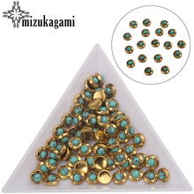 20pcs/lot Golden Alloy Metal Small Round UV Gel Art Decoration Set Beads For DIY UV Charms Jewelry Accessories