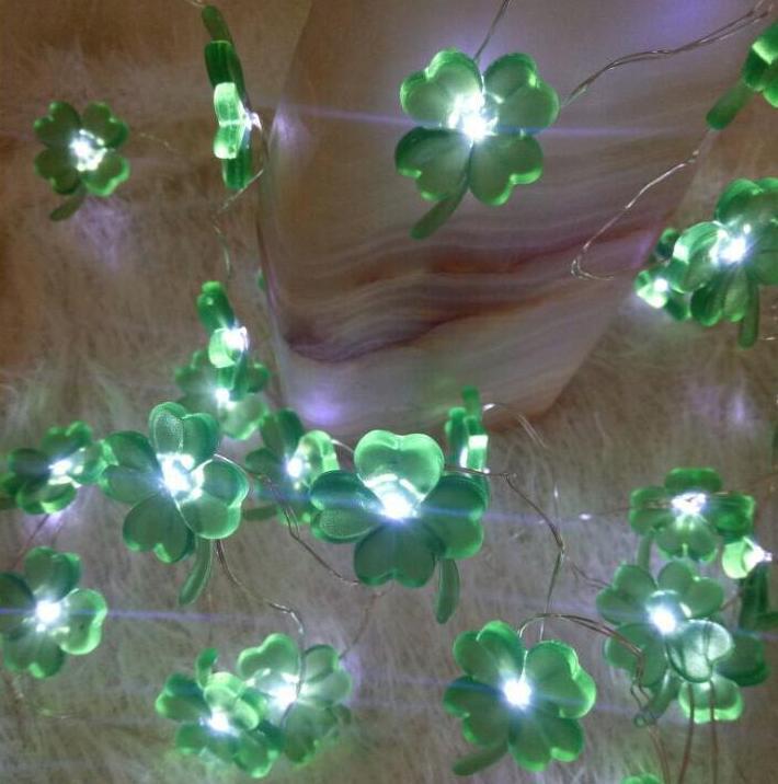 Led lampe à quatre feuilles chaîne 2 m 20 lampe en laiton fil lampe chaîne festival lampe décorative batterie boîte