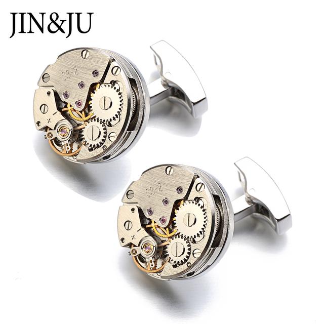 Jinju Watch Movement Cufflinks Immovable Steampunk Gear Mechanism Cuff Links Mens Relojes Gemelos