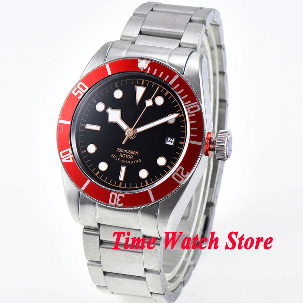 41mm Corgeut men s watch black sterile dial red Bezel sapphire glass bracelet Automatic wrist watch