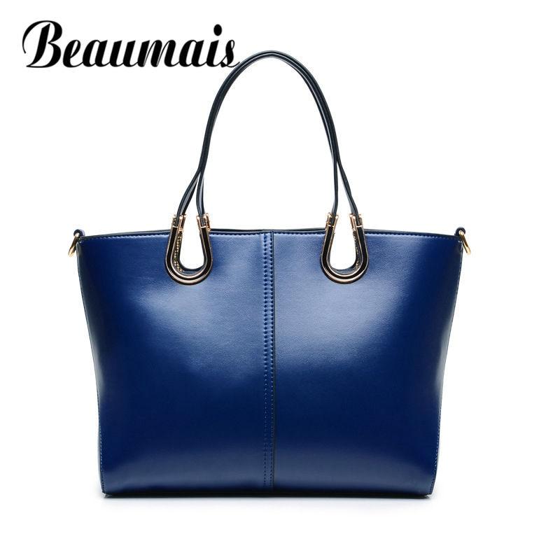 Beaumais 2017 Large Capacity Genuine Leather Women Bag Fashion Luxury Handbag For Women Famous Designer Shoulder Bags DF0155