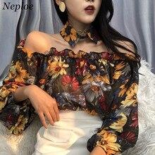 Neploe nowy Sexy Slash Neck Off ramię Blusas kobiety 2019 wiosna letni kwiat koszule z długim rękawem bluzka w stylu Vintage topy damskie K312