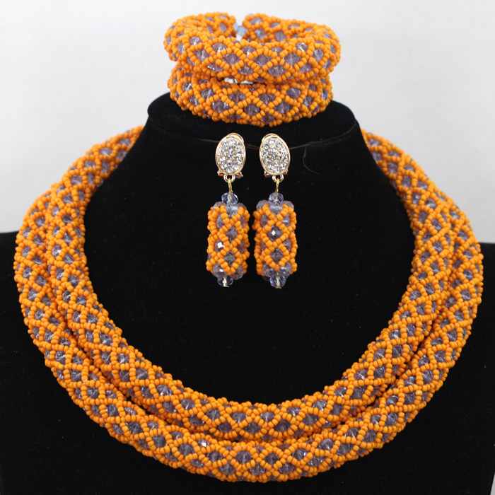 Charming Orange Nigerian Wedding African Beads Jewelry Set White Crystal Seed Beads Gold Dubai Bridal Necklace Party Set QW744 allure charming party magic set