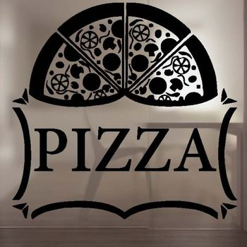 Kitchen Pizza Sticker Food Decal Poster Vinyl Art Wall Decals Pegatina Quadro Parede Decor Mural Pizza Sticker image