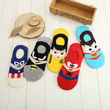 2017 new summer super hero Cartoon man Casual ankle cotton socks men boat sock slippers harajuku EUR35-40