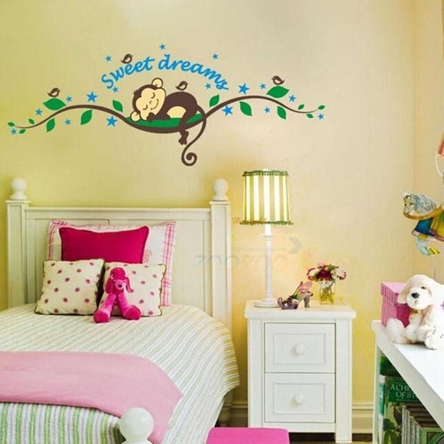 Sweet Dream Monkey Living Room Wall Stickers Decals Warm Baby Sleep ...