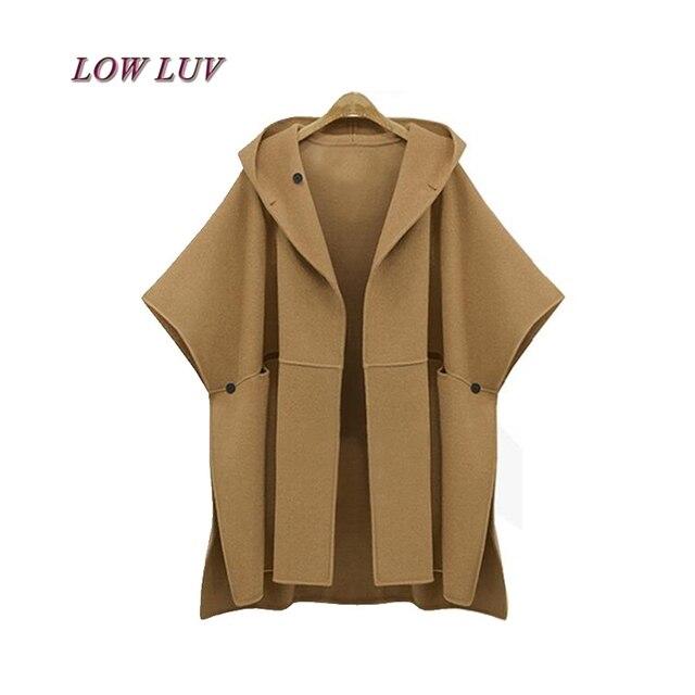 2017 autunno inverno cappotto di lana con cappuccio manica pipistrello  donne mantello di base cappotti giubbotti 8dd424a6938