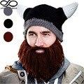 Men Women Fancy Horn Crochet Elastic Beanie Bull Knitted Hat Dwarf Bearded Viking Wizard Mask Handmade OX Cosplay Photo Prop Cap