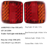 1 Pair AOHEWEI 12v 26 leds Trailer ligh high brightness License Plate Truck lamp Tail position Light with reflector waterproof