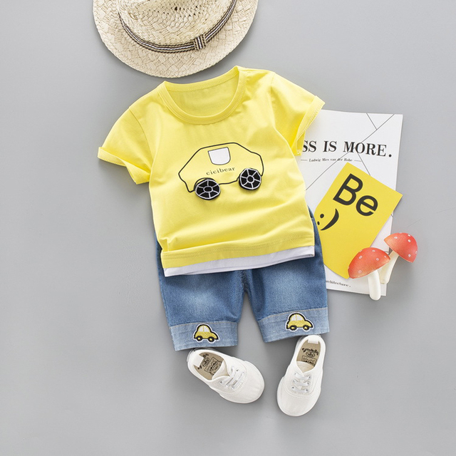 2-Pieces Cartoon Plane Logo Design Top with Pants Set for Baby / Toddler Boy