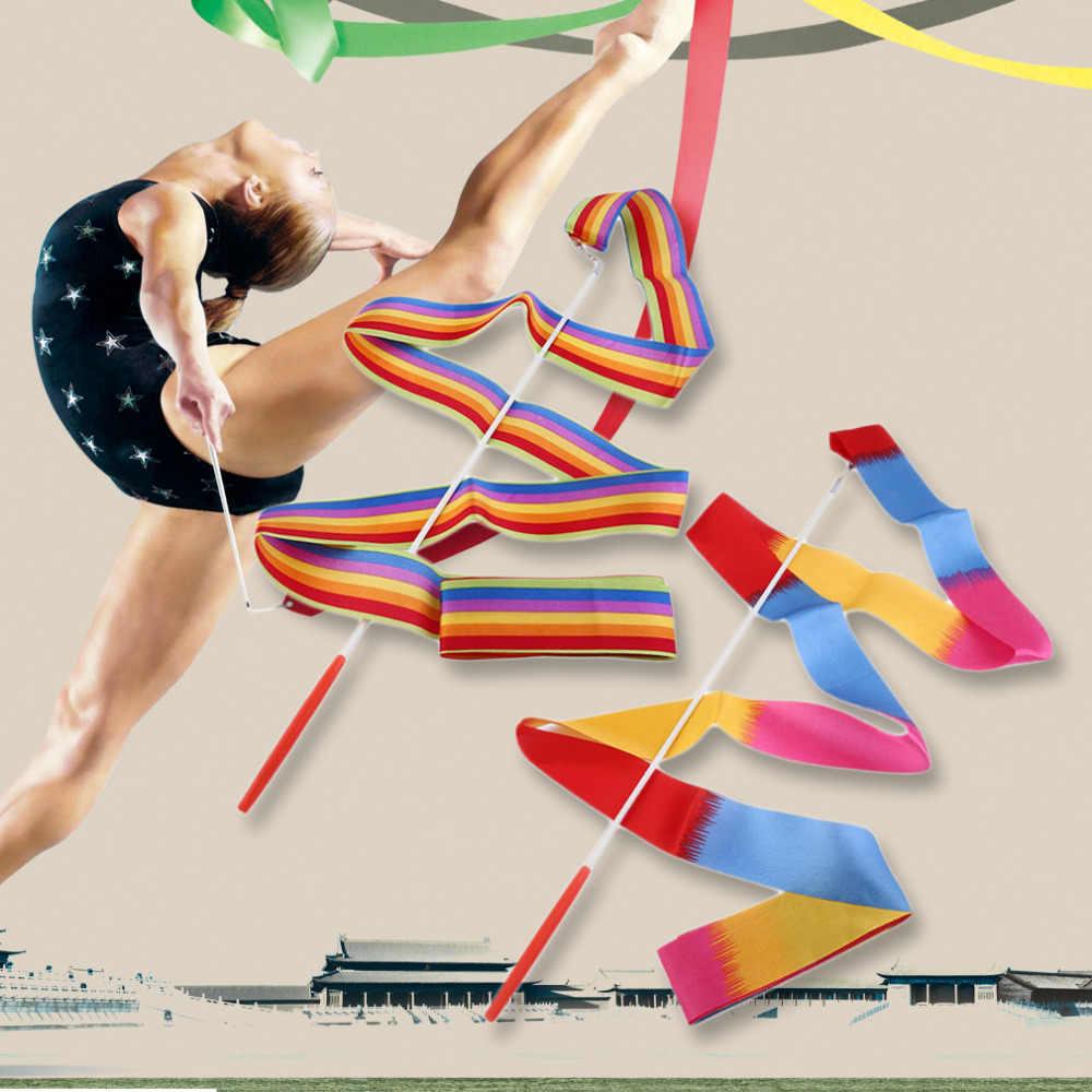 4 M Universal Ginásio Dança Rítmica Fita Art Ginástica Streamer Twirling Rod Vara Acessórios de Dança Performace