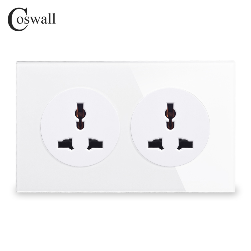 Coswall Crystal Tempered Pure Glass Panel 13A 2 Gang Universal Wall Power Socket Grounded With Child Protective Lock 146 Type