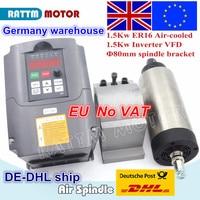 EU free VAT 1.5KW Air cooled spindle motor 80x200mm ER16 & 1.5KW VFD 220V inverter & 80mm cast aluminium bracket for CNC Milling