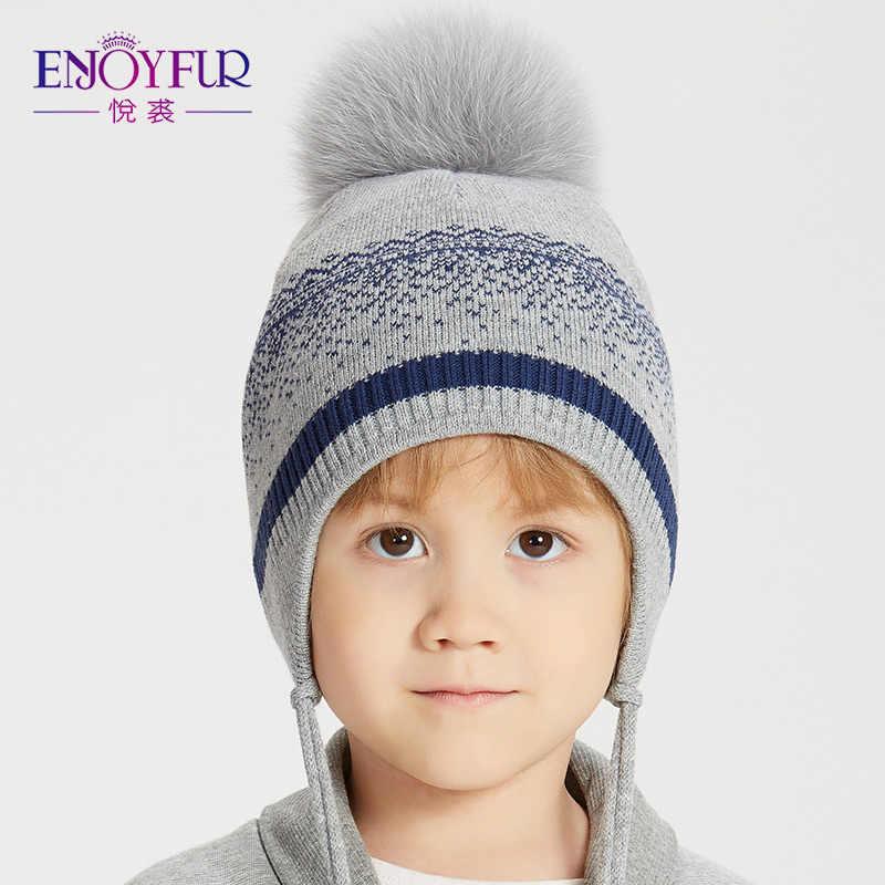 ENJOYFUR niños sombreros de invierno gorras sombrero Pom sombrero con  orejas polar caliente niños gorros nuevos 8618f22f3bf