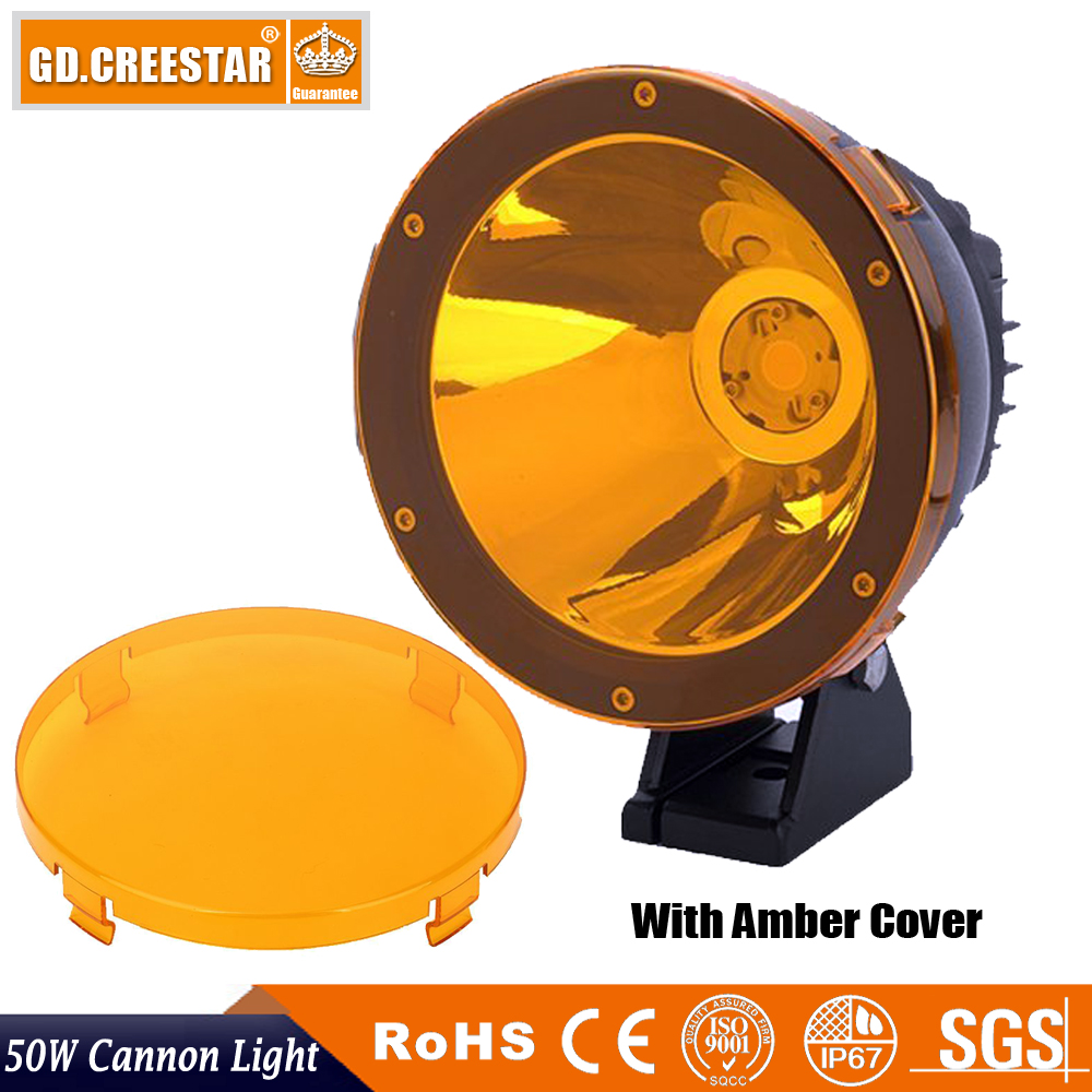 50Watts 6.7inch round Led Cannon Light spotlight OFF ROAD 12V Led work driving lights used for 4x4 4wd suv atv free cover x1pc