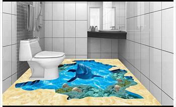 Personalizado 3d Foto Papel Pintado 3d Piso Pintura Papel Pintado Mundo Submarino 3D Baño Suelo Azulejos Sala Decoración