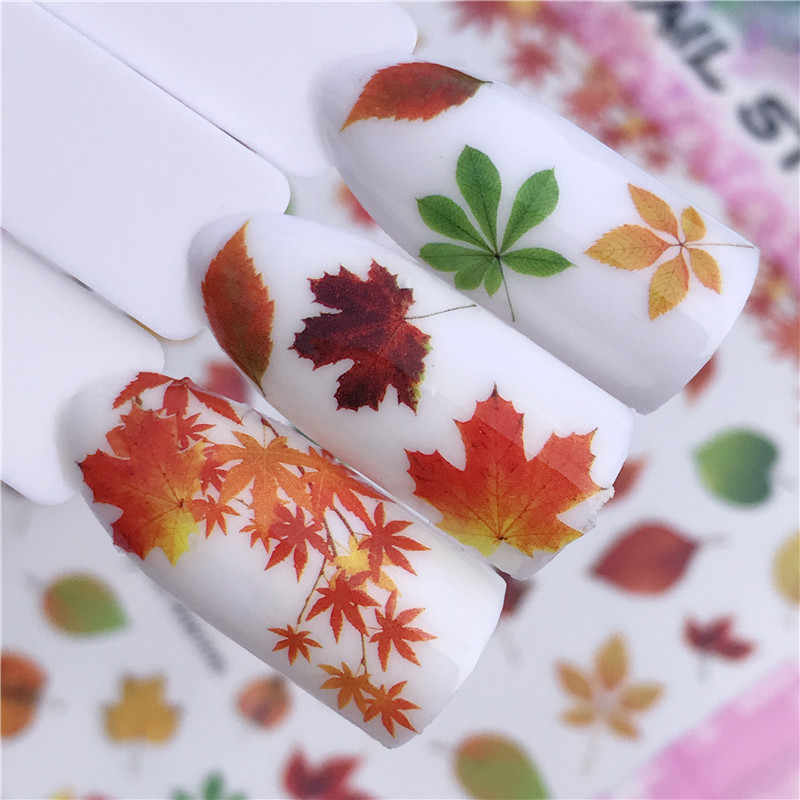 1 Sheet Retro Nail Designs 3D DIY Sticker Nails Charm  Nail Art Sticker Maple leaves Thin Adhesive Decor Manicure Slice