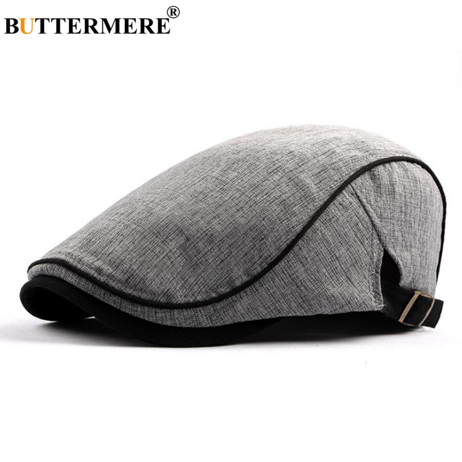 BUTTERMERE 2019 Duckbill Hats Beige Cotton Flat Caps Men Adjustable British Casual Berets Male Spring Summer Fashion Cabbie Cap