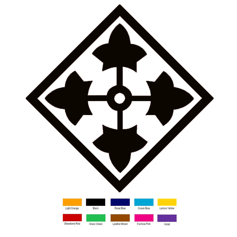 15cm x 15cm 4th Infantry Division Patch Car Sticker For