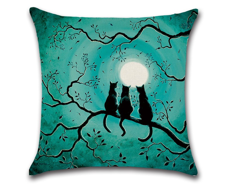 CAMMITEVER Halloween Black Cat Moonnight Cover Decorative Throw Pillow Sofa Home Decor Decorativos Coussin Almofada Cojines-in Cushion Cover from Home & Garden