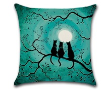 CAMMITEVER Halloween Zwarte Kat Moonnight Cover Decoratieve Sierkussen Sofa Thuis Decor Decorativos Coussin Almofada Cojines