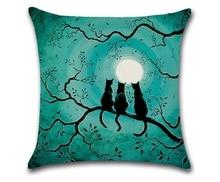 Cammiteverハロウィン黒猫moonnightカバー装飾的なスロー枕ソファ家の装飾decorativos coussin almofada cojines