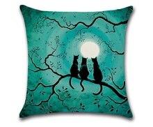 Moonnight cammitever هالوين القط الأسود غطاء الزخرفية رمي وسادة أريكة ديكور المنزل decorativos almofada coussin cojines