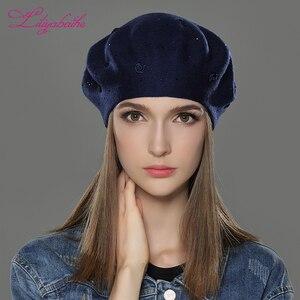 Image 5 - LILIYABAIHE, nuevo estilo, sombrero de invierno de lana angora, boinas de punto, colores sólidos, moda, la decoración más popular, tapas de rosas