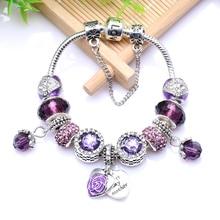 CHIWON Nouveau Européenne Antique Argent Violet Strass Charms Main Bracelet fit Original Bracelets & Bangles Pour Femmes BL098