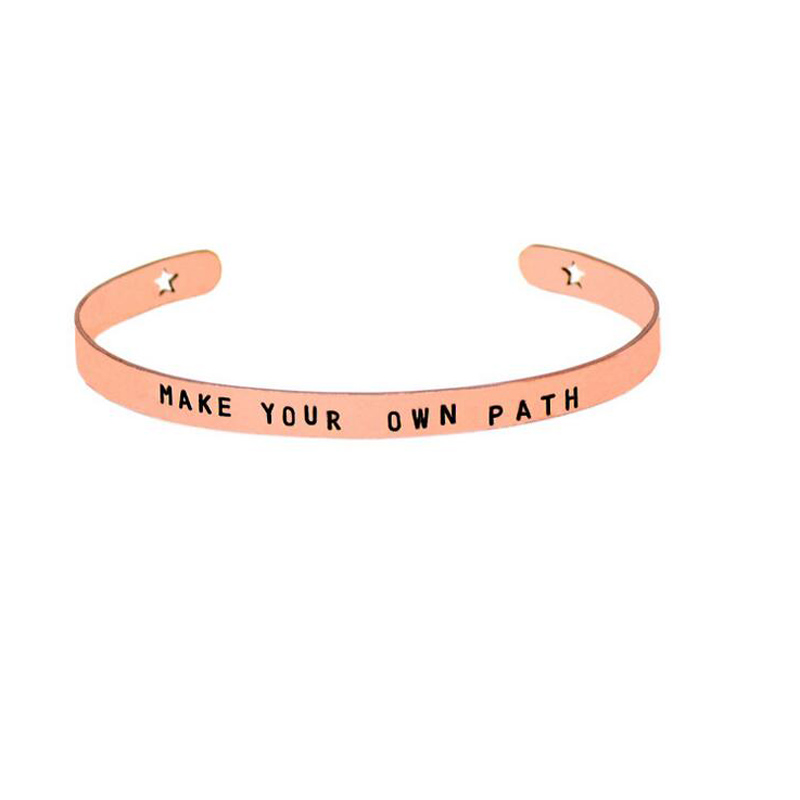9pcs Lot Open Cuff Bangle Bracelet Engraved Make Your Own Path Inspirational Quote Mantra Bracelets For Women Christmas Gift In Bangles From Jewelry