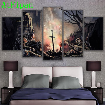 AtFipan Hot Sale Canvas Painting 5 Pieces Dark Souls Modern Wall Pictures For Living Room Abstract Soldiers Game Modular Poster