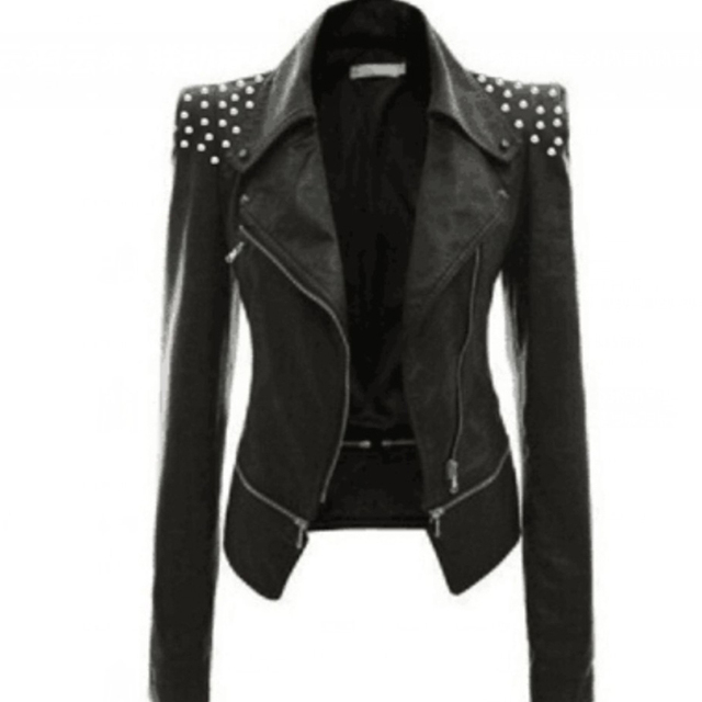 Autumn Women Faux Leather Gothic Black Zippers Long sleeve Jacket 3