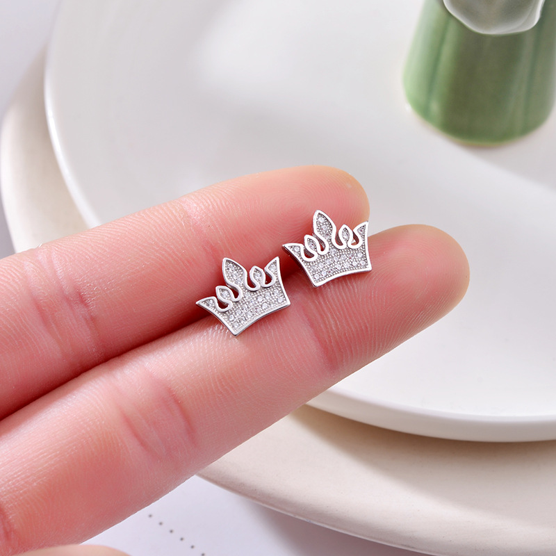 Hot Fashion 100% 925 Sterling Silver Sweetheart Crown Cubic Zirconia Stud Earrings For Women Authentic Original Jewelry