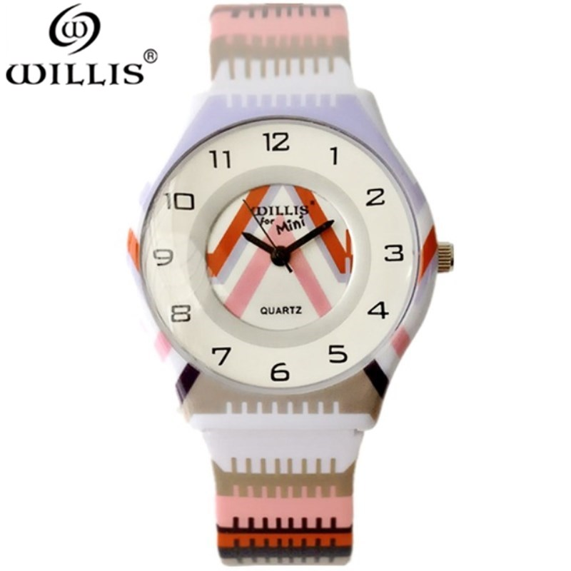 WILLIS Women Quartz Waterproof Brand Watch Round Dial Analog Children WristWatch With Fashion Ultrathin Silicone Band Wristwatch