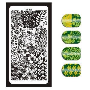 Image 5 - 1 szt. Warstwa do zdobienia paznokci szablon geometryczne kwiaty obraz motyla szablony Manicure polerowanie narzędzia transferowe do paznokci XYZ 01