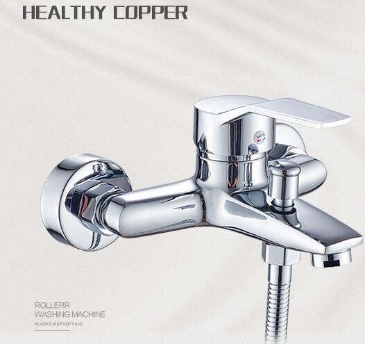 Baignoire Robinet De Douche cuivre dissimulé douche Mélangeur commande de Soupape basculer robinets Dans-Mur salle de bains Triple robinet avec sortie d'eau