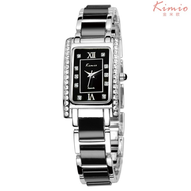 Fashion Brand Kimio Dress Women Bracelet Watch For Diamond Ceramic Stainless Ste