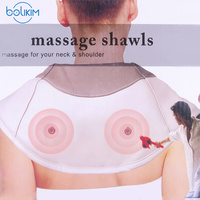 BOLIKIM 220V Electrical Shiatsu Back Neck Shoulder Massager Body Infrared 3D Kneading Massager Flat Plug Car