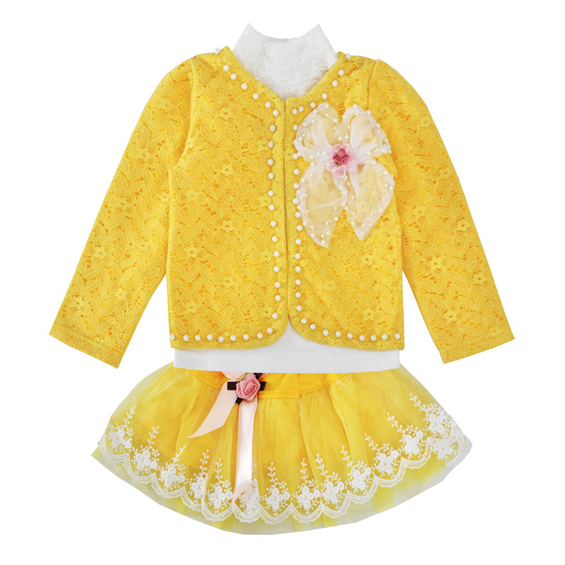 Mew Baby Girls Clothing Set Fashion Yellow Lace Beaded Coat Tutu Skirt Long Sleeve T Shirt 3pcs Outfits Toddler Clothing Sets newborn toddler girls summer t shirt skirt clothing set kids baby girl denim tops shirt tutu skirts party 3pcs outfits set