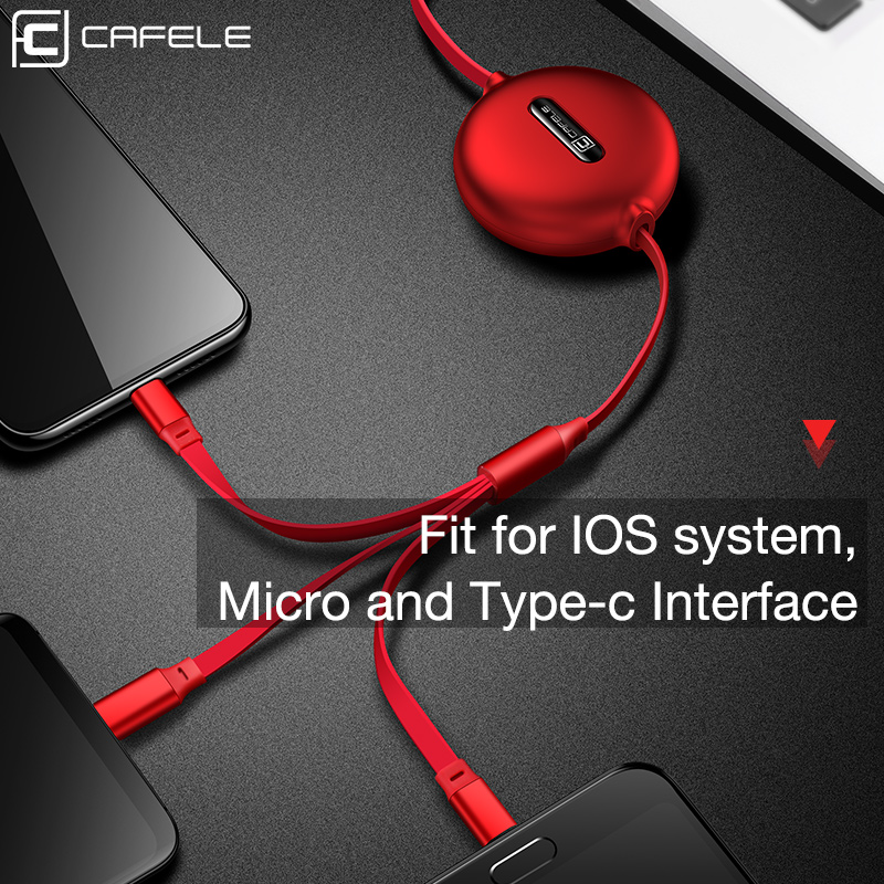 CAFELE micro usb type c cable for iPhone Charger Xiaomi Huawei cable 3 in 1 Cable 120cm 3A Fast Charging Cable Retractable Data in Mobile Phone Cables from Cellphones Telecommunications