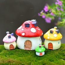 XBJ022 Kawaii Mini Mushroom House Tuindecoratie Hars Ambachten Tuinornamenten voor Bonsai Micro Landschap Diy Craft