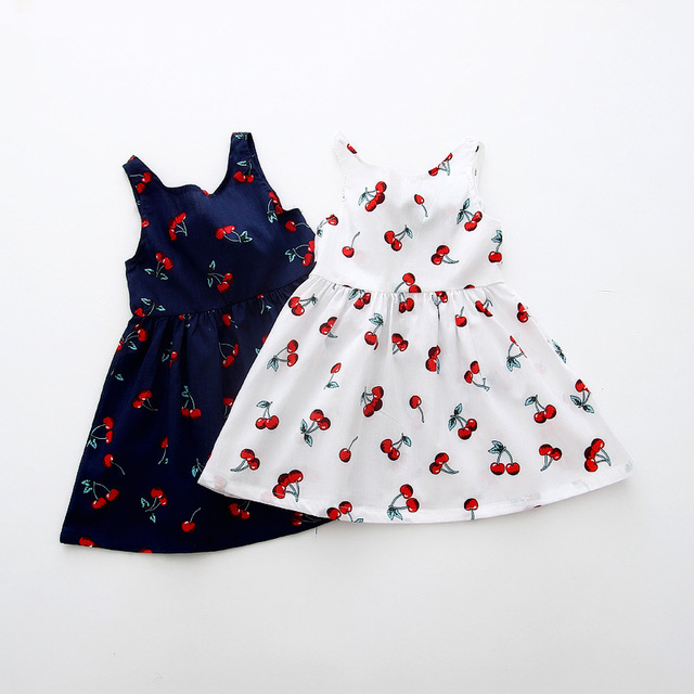 8843623e3cc Holiday Baby Girl Blue Cherry Print Dresses for Girls Summer Cotton Clothes  Newborn Infant Sundress Clothes
