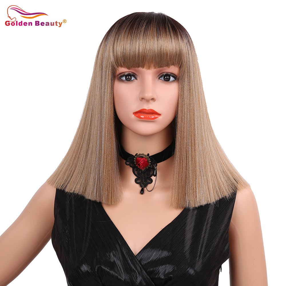 14inch Synthetic Hair wigs with bangs blonde mix color short Straight hair Wig neat bangs Golden Beauty