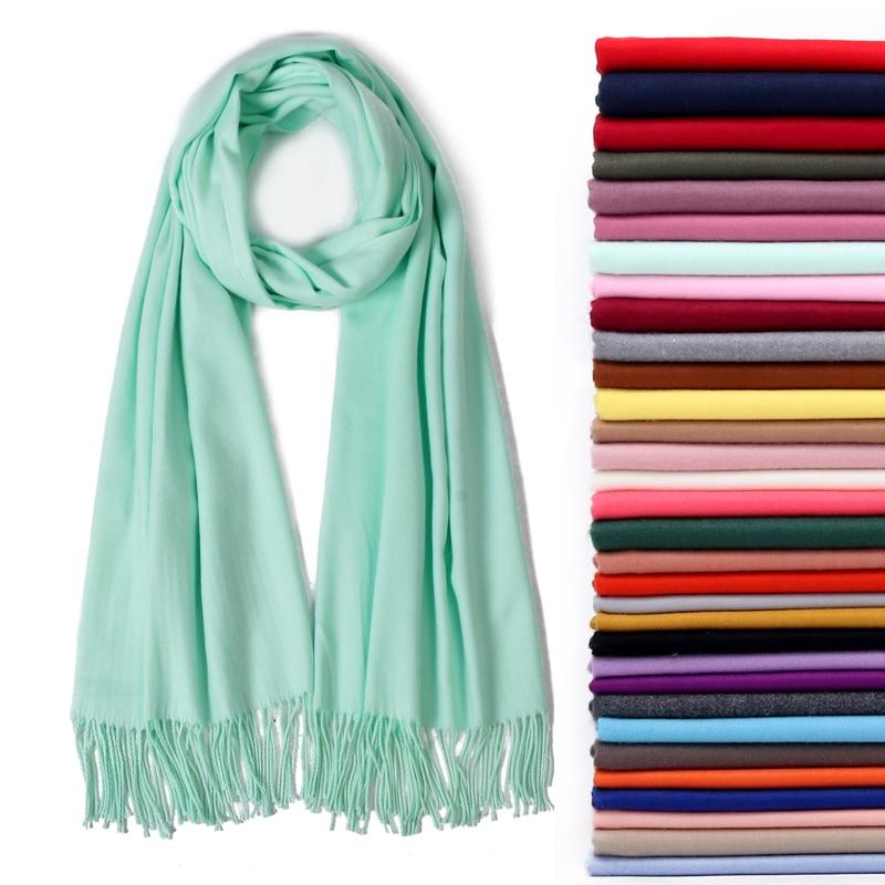 2019 Women Scarf Soild Winter Cashmere Scarves For Ladies Neck Warm Pashmina Long Shawl Wraps Bandana Foulard Female Head Hijab